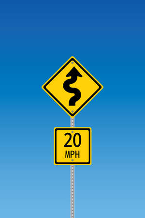 mph: Curvy road warning sign with second sign saying 20 mph Illustration