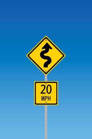 road warning sign: Se�al de advertencia de la carretera curvil�neas con segundo signo diciendo 20 mph