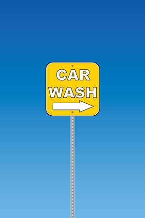 Car wash - yellow road sign Stock Vector - 7758434