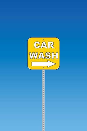 Car wash - yellow road sign Vector