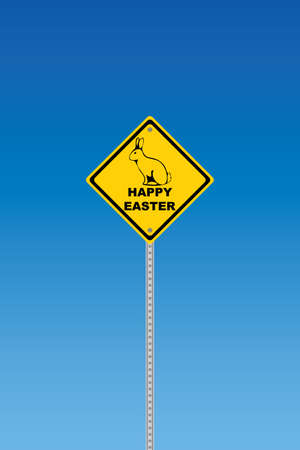 Road sign with happy easter text and rabbit  silhouette Illustration
