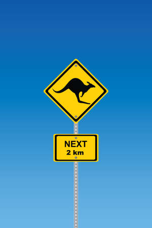 panneaux danger: Panneau de signalisation de route kangourou avec distance signe disant 2 km Illustration