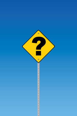 turning point: Road sign with question mark