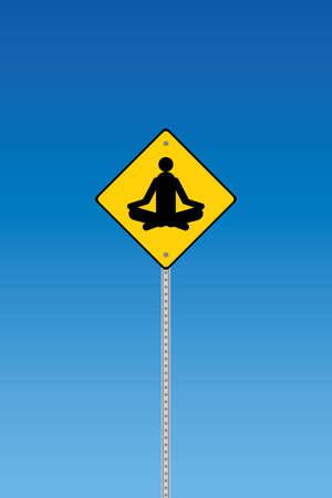 Yoga traffic warning on a blue graduated sky Stock Vector - 7758409