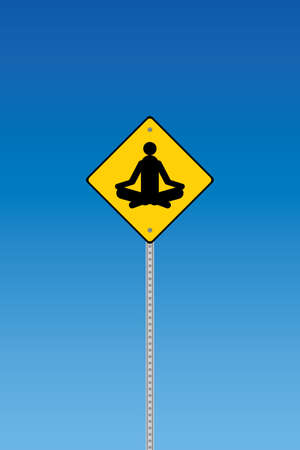 ohm: Yoga traffic warning on a blue graduated sky