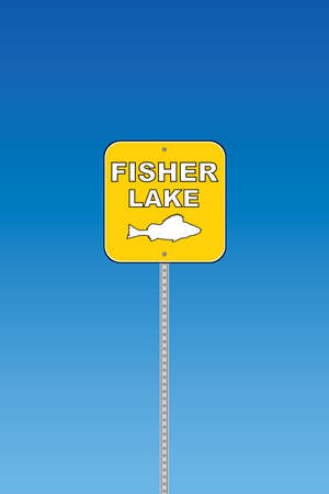 fisher: Fisher lake - yellow road sign