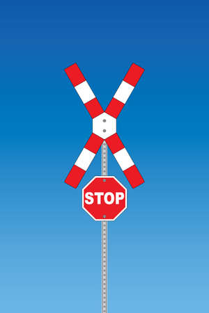 Red-white railway road sign with stop sign Stock Vector - 7758440