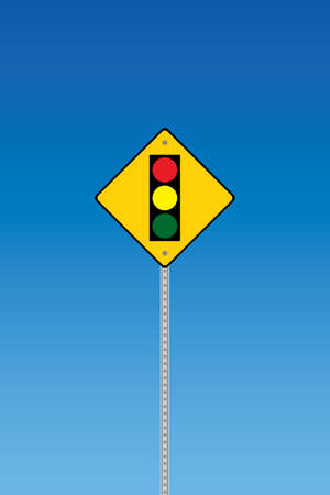 Traffic lights sign on a blue graduated sky Vector