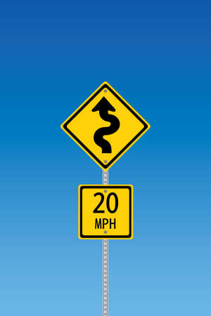 Curvy road warning sign with second sign saying 20 mph Stock Vector - 7758415