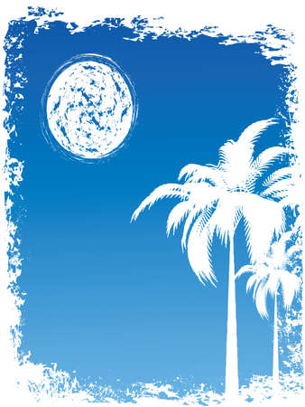 Blue grunge tropical summer backround with moon Vector