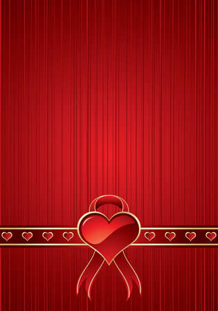 Red background with heart and ribbon for valentine day Stock Vector - 7758444