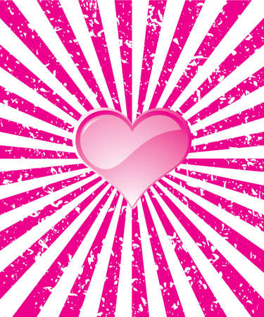 Radiant grunge pink background with hearts Vector