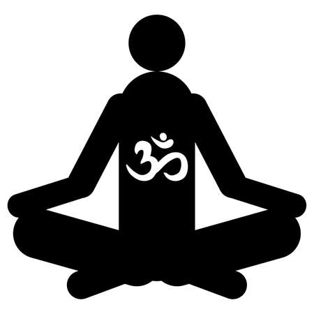 ohm: yoga with ohm symbol isolated on white