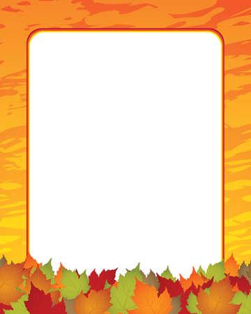 Autumn leaves frame - Seasonal background Vector