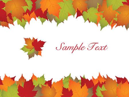 autumn leaf frame: Marco de hojas de oto�o con texto