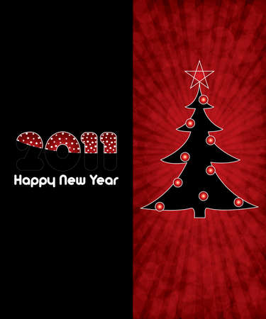 Red abstract Happy New Year 2011 background Vector