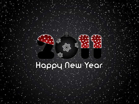 Black abstract Happy New Year 2011 background Vector