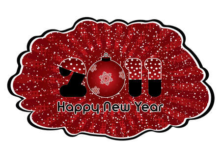 Red abstract Happy New Year 2011 splash Vector