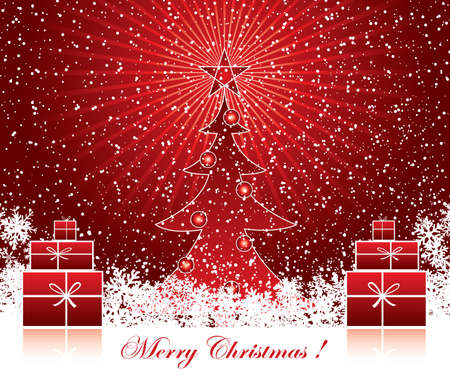 Red Christmas decoration background with text Vector