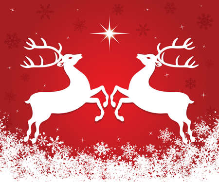 Beautiful red Christmas background with reindeers