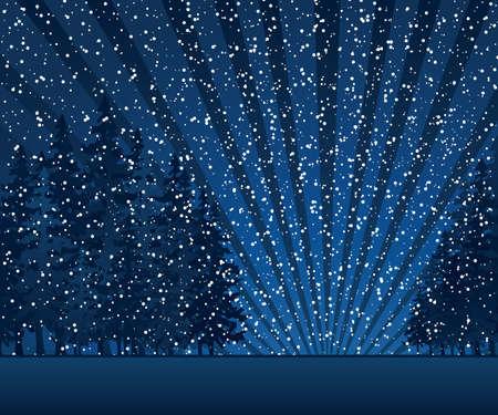 silhouette arbre hiver: Carte de No?l avec soir?e d'hiver dans les tons bleus
