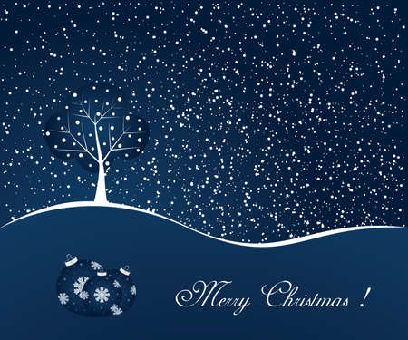 Blue winter scene - christmas background Vector