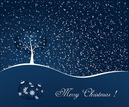 snow scene: Blue winter scene - christmas background