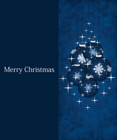 Blue invitation card template - Christmas background Vector