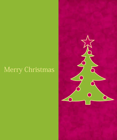 christmas tree purple: Green and pink invitation card template - Christmas background