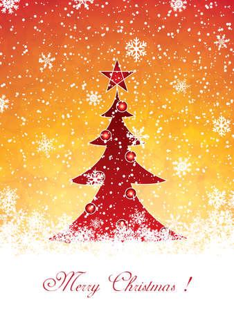 Golden invitation card template - Christmas tree Vector