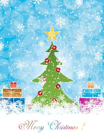 Color full invitation card template - Christmas tree Vector