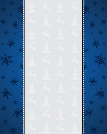 Blue Christmas background with snowflakes - frame Vector