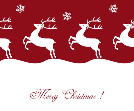Beautiful red Christmas background with reindeer Stock Vector - 8493081