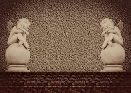 Statue of two angels at the top of the stairs - vintage background photo