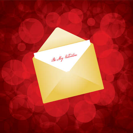 illustration of golden envelope with love letter  Vector