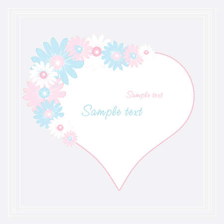 Vintage frame with heart and flowers Stock Vector - 8595179