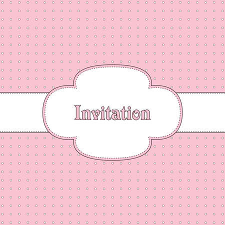 Pink and brown vintage card, polka dot design Vector