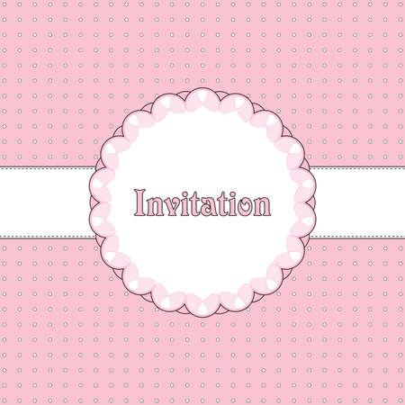 Pink and brown vintage card, polka dot design Stock Vector - 8678259
