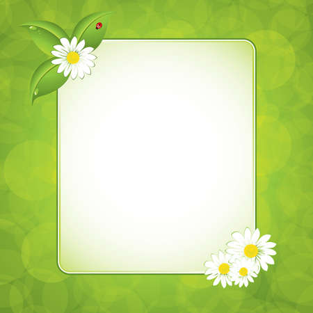 space text: Green leaf frame illustration with flowers Illustration
