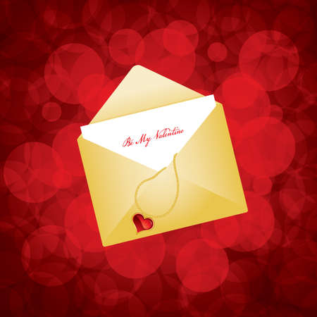 Vector illustration of golden envelope with love letter  Vector