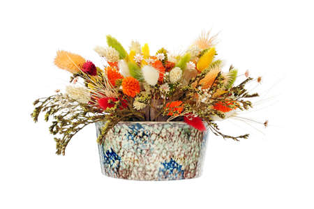 Mixed colorful dry flower arrangement photo