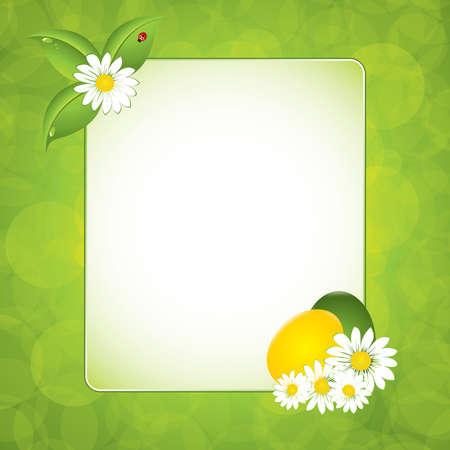 Green leaf frame illustration with eggs - Easter background Vector