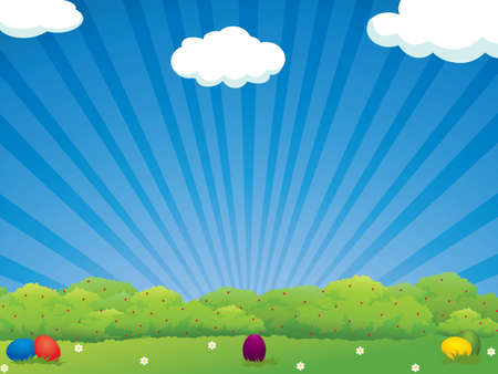 Colorful Easter eggs in the meadow - holiday background