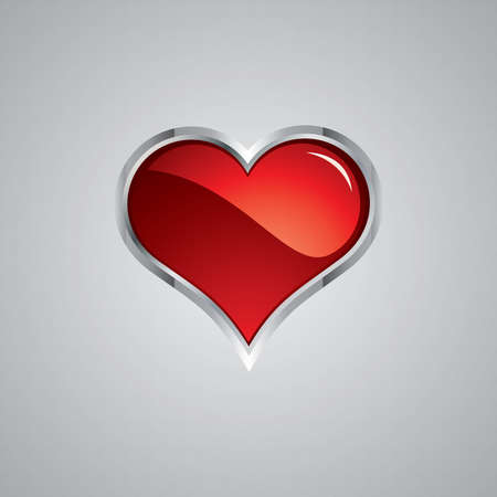 The Heart. Steel style. Red light Vector