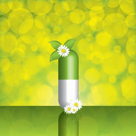 capsules: Green alternative medication concept - vector illustration