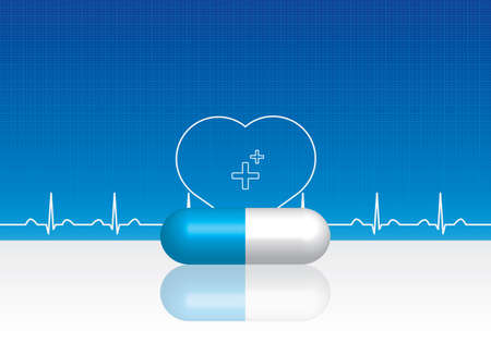 Blue pills, heartbeat on blue technological background. Scientific, medical purposes.  Vector