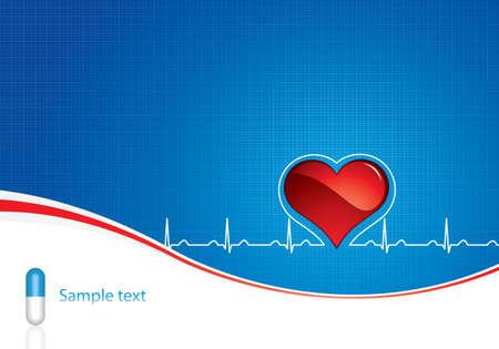 ritme: Blauwe pillen, heartbeat op blauwe medische achtergrond Stock Illustratie