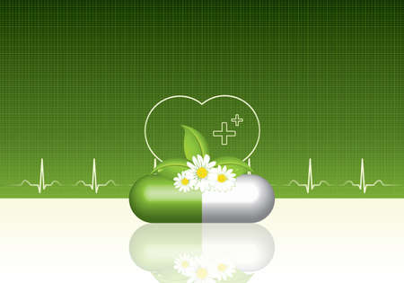 pharmacy icon: Green alternative medication concept - Natural herbal pill