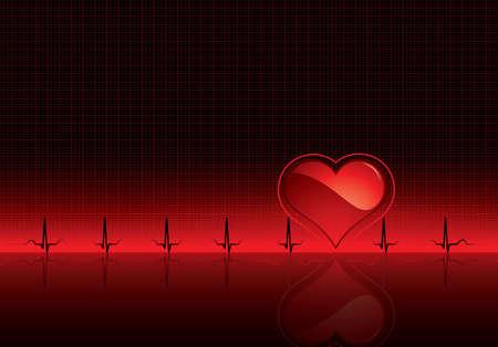 hjärtslag: Heartbeat on red medical background - Electrocardiogram