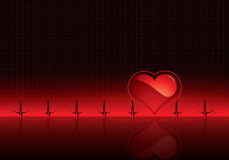 Heartbeat on red medical background - Electrocardiogram Vector